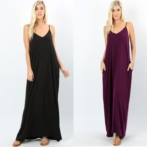 V-Neck Cami Maxi with Pockets